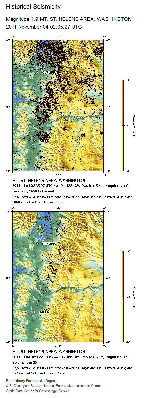 Mt St Helens Historic Seismicity